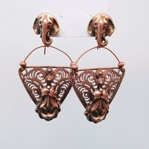 STUNNING vintage boho copper elephant earrings